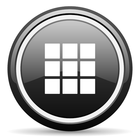 thumbnails: thumbnails grid black circle glossy web icon Stock Photo