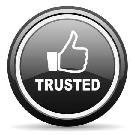 trusted: trusted black circle glossy web icon