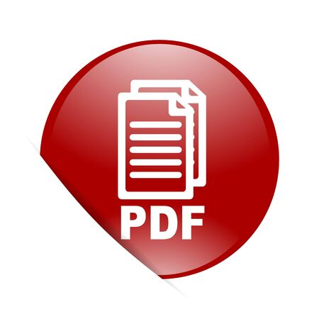 bibliography: pdf red circle glossy web icon,