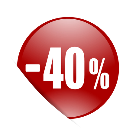 40: 40 percent sale retail red circle glossy web icon