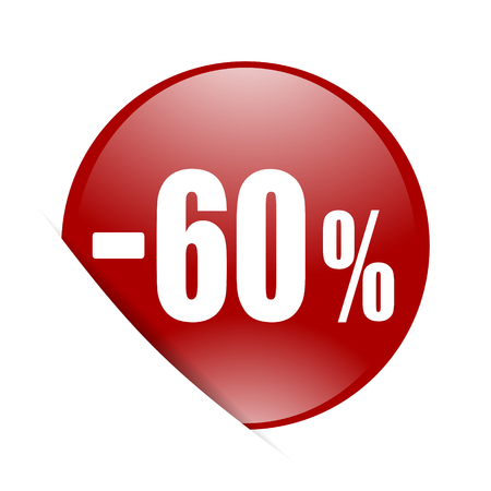 60: 60 percent sale retail red circle glossy web icon