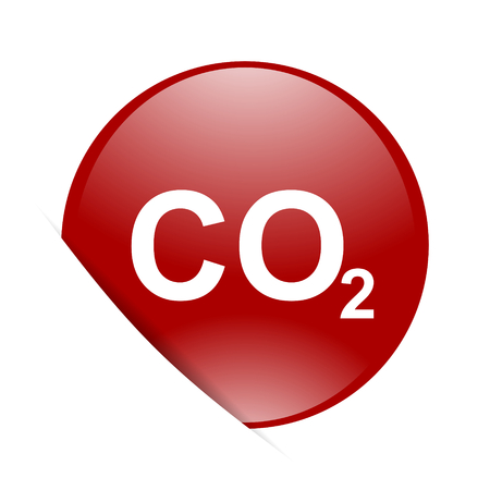 carbonic: carbon dioxide red circle glossy web icon Stock Photo