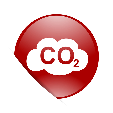 dioxide: carbon dioxide red circle glossy web icon Stock Photo