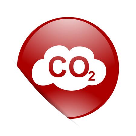 dioxido de carbono: el dióxido de carbono círculo rojo brillante del icono del Web Foto de archivo