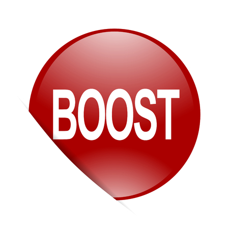 boost: boost red circle glossy web icon Stock Photo