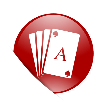 picto: card red circle glossy web icon Stock Photo