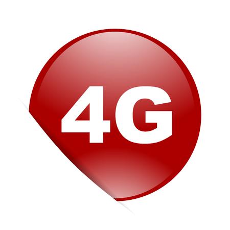 4g: 4g red circle glossy web icon Stock Photo