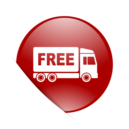d�livrance: free delivery red circle glossy web icon Banque d'images