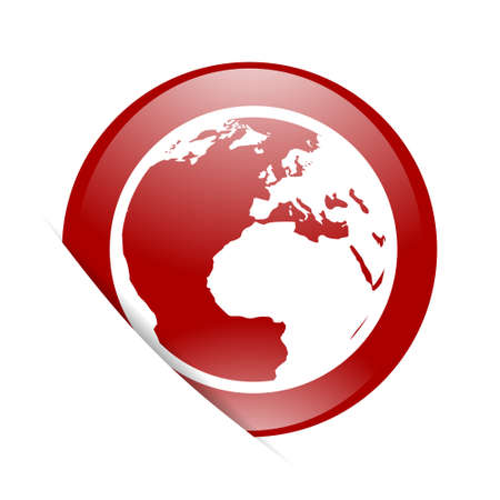 parallel world: earth red circle glossy web icon