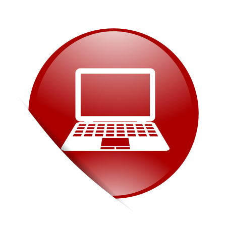 netbooks: computer red circle glossy web icon Stock Photo