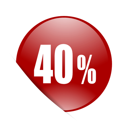 40: 40 percent red circle glossy web icon