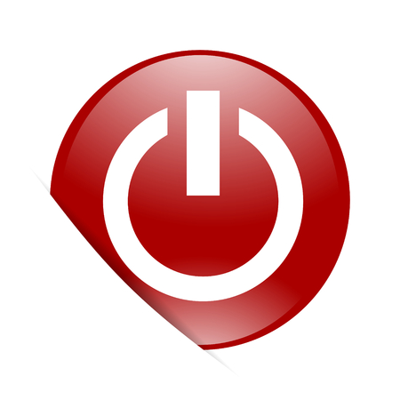 run off: power red circle glossy web icon Stock Photo