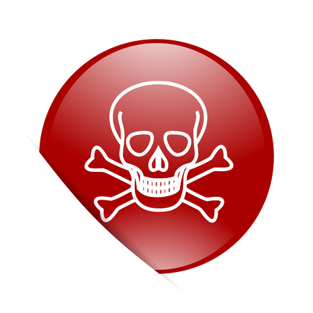 pirating: skull red circle glossy web icon Stock Photo