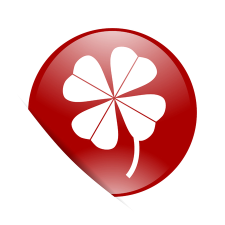 fourleaf: four-leaf clover red circle glossy web icon