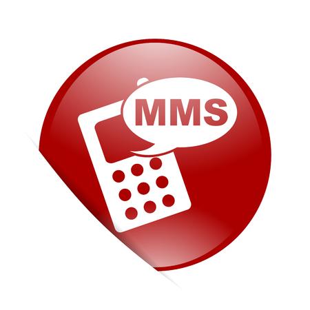 mms: mms red circle glossy web icon