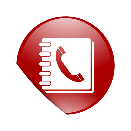 phonebook: phonebook red circle glossy web icon
