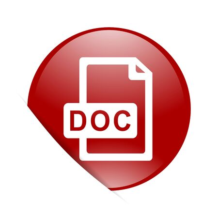 bibliography: doc file red circle glossy web icon