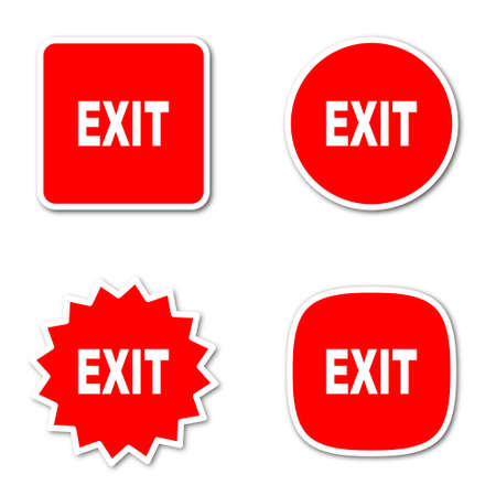 way out: exit simple red web internet icon set flat design sticker tag