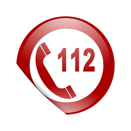 emergency call: emergency call red circle glossy web icon Stock Photo