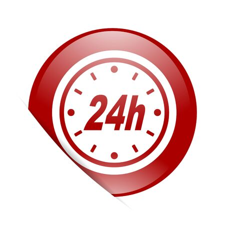 24h: 24h red circle glossy web icon