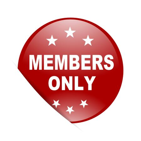 private club: members only red circle glossy web icon Stock Photo