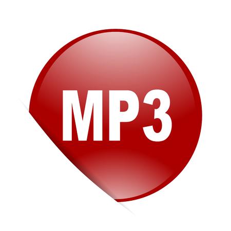 mp3: mp3 red circle glossy web icon Stock Photo