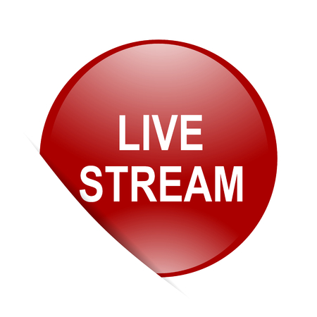live stream: live stream red circle glossy web icon Stock Photo