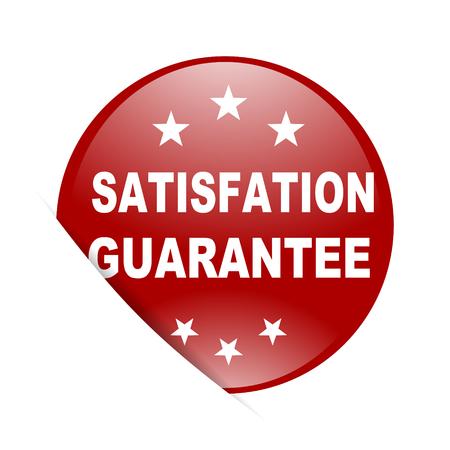 satisfaction guarantee: satisfaction guarantee red circle glossy web icon