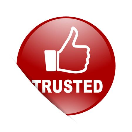 trusted: trusted red circle glossy web icon