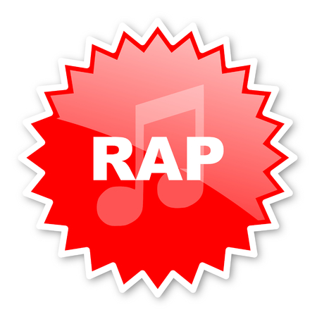 listen live stream: rap music red tag, sticker, label, star, stamp, banner, advertising, badge, emblem, web icon