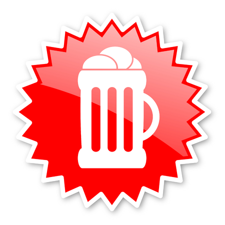 cereal bar: beer red tag, sticker, label, star, stamp, banner, advertising, badge, emblem, web icon Stock Photo