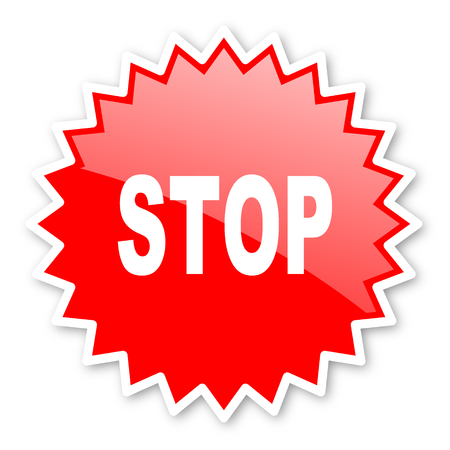 proscribed: stop red tag, sticker, label, star, stamp, banner, advertising, badge, emblem, web icon