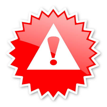 exclamation icon: exclamation sign red tag, sticker, label, star, stamp, banner, advertising, badge, emblem, web icon Stock Photo