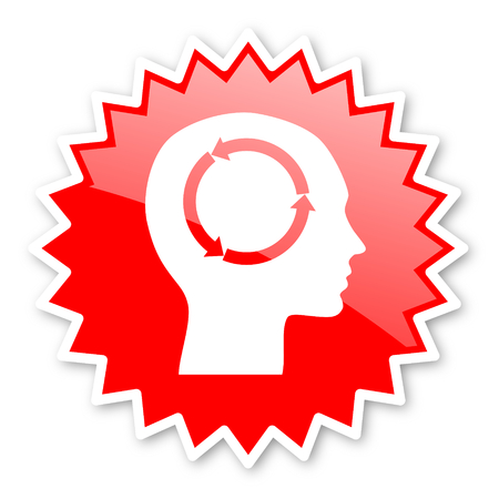 head tag: head red tag, sticker, label, star, stamp, banner, advertising, badge, emblem, web icon Stock Photo