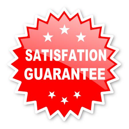 satisfaction guarantee: satisfaction guarantee red tag, sticker, label, star, stamp, banner, advertising, badge, emblem, web icon