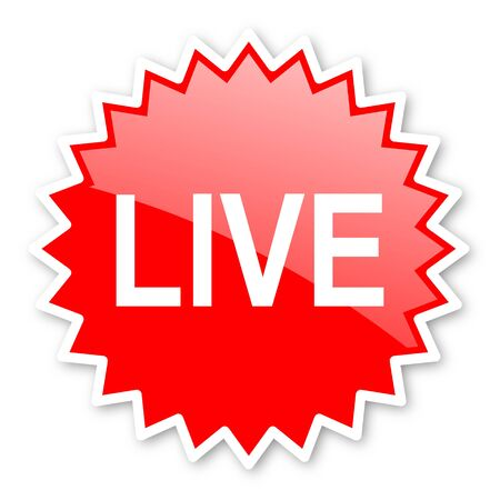 news cast: live red tag, sticker, label, star, stamp, banner, advertising, badge, emblem, web icon Stock Photo