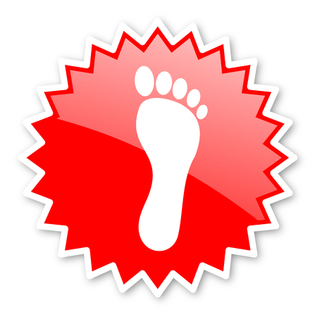 toe tag: foot red tag, sticker, label, star, stamp, banner, advertising, badge, emblem, web icon Stock Photo