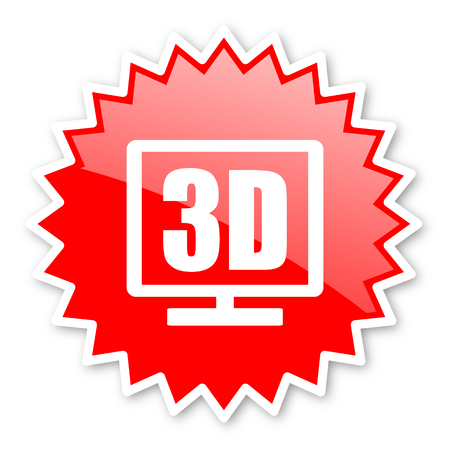 programm: 3d display red tag, sticker, label, star, stamp, banner, advertising, badge, emblem, web icon Stock Photo