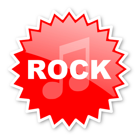 listen live stream: rock music red tag, sticker, label, star, stamp, banner, advertising, badge, emblem, web icon Stock Photo