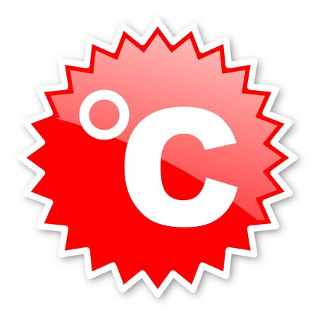 celcius: celsius red tag, sticker, label, star, stamp, banner, advertising, badge, emblem, web icon Stock Photo