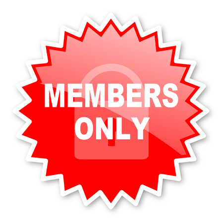 private club: members only red tag, sticker, label, star, stamp, banner, advertising, badge, emblem, web icon Stock Photo