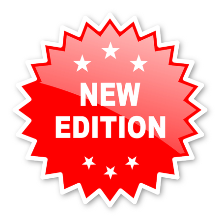 new and improved: new edition red tag, sticker, label, star, stamp, banner, advertising, badge, emblem, web icon