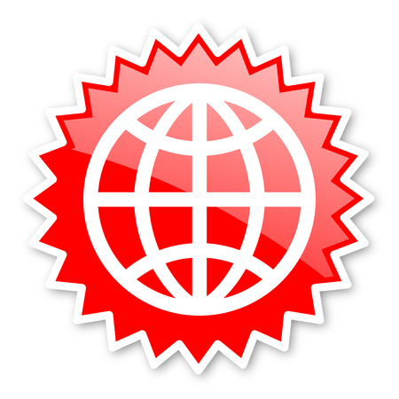 parallels: earth red tag, sticker, label, star, stamp, banner, advertising, badge, emblem, web icon Stock Photo