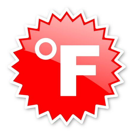 celcius: fahrenheit red tag, sticker, label, star, stamp, banner, advertising, badge, emblem, web icon Stock Photo