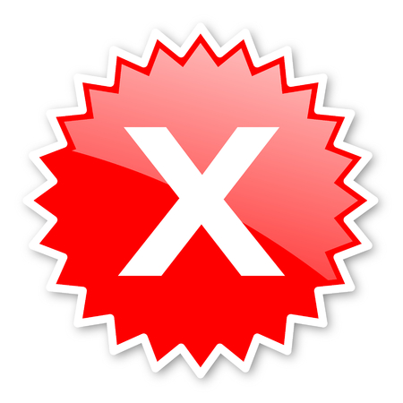 disagree: cancel red tag, sticker, label, star, stamp, banner, advertising, badge, emblem, web icon