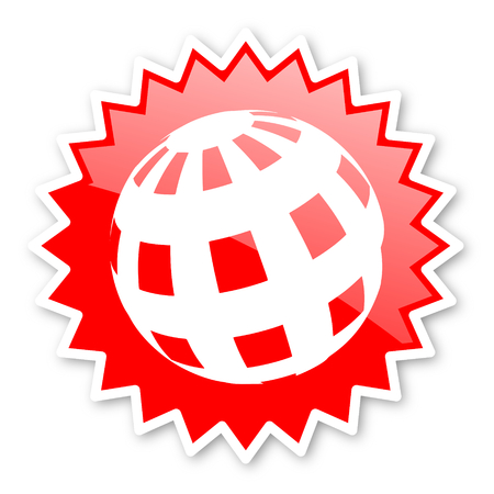 meridians: earth red tag, sticker, label, star, stamp, banner, advertising, badge, emblem, web icon Stock Photo