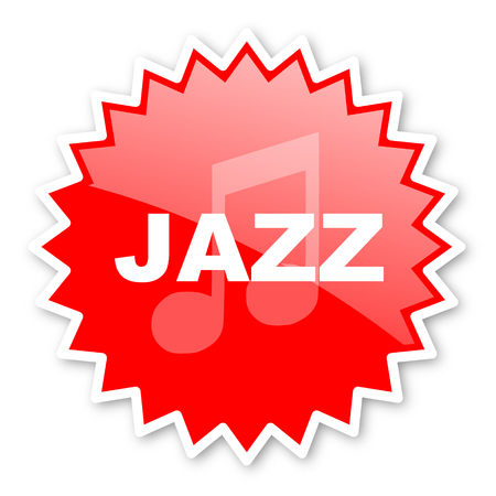 live stream sign: jazz music red tag, sticker, label, star, stamp, banner, advertising, badge, emblem, web icon