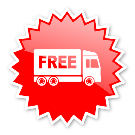 d�livrance: free delivery red tag, sticker, label, star, stamp, banner, advertising, badge, emblem, web icon Banque d'images