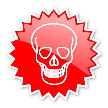 pirating: skull red tag, sticker, label, star, stamp, banner, advertising, badge, emblem, web icon Stock Photo
