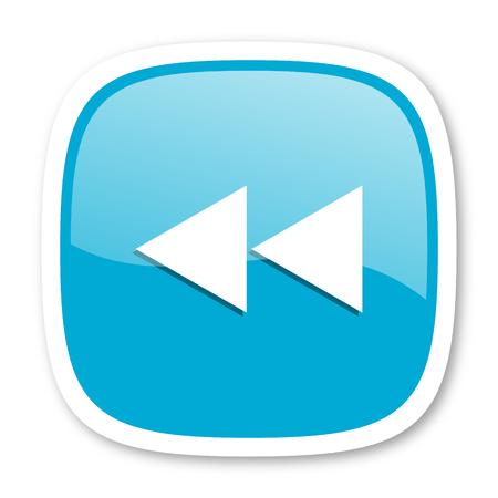 rewind: rewind blue glossy icon Stock Photo